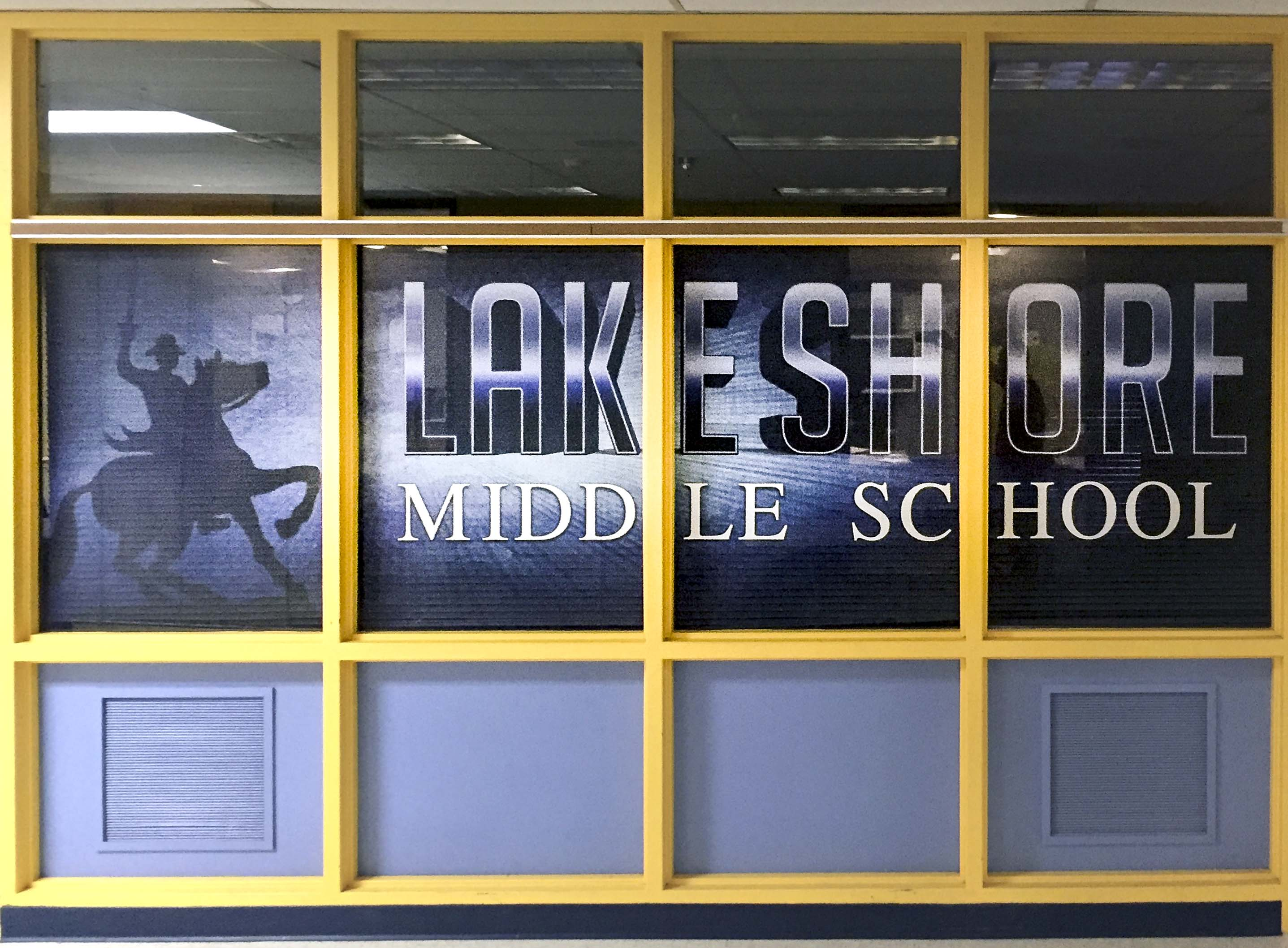 Lake Shore Middle School perforated window graphic